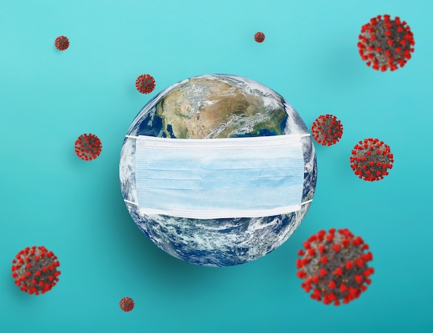 World surrounded by covid-19 virus . concept of pandemic and contagion
