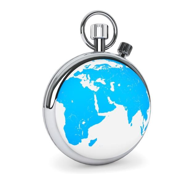 Концепция мирового времени. секундомер как земной шар на белом фоне