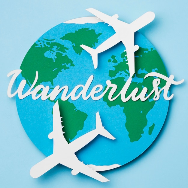 World tourism day with lettering