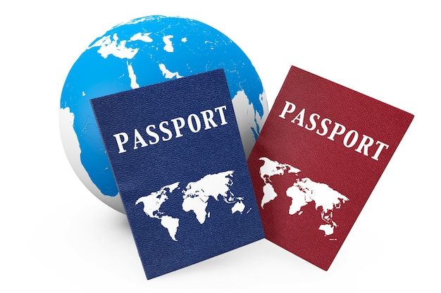 World travel concept. earth and passports on a white background