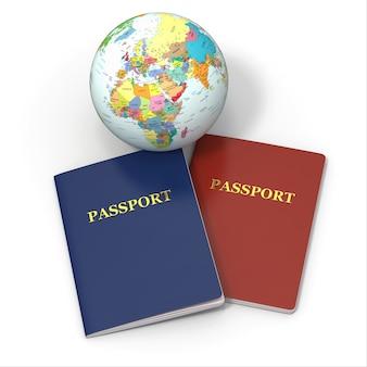 世界旅行。白い背景の上の地球とパスポート
