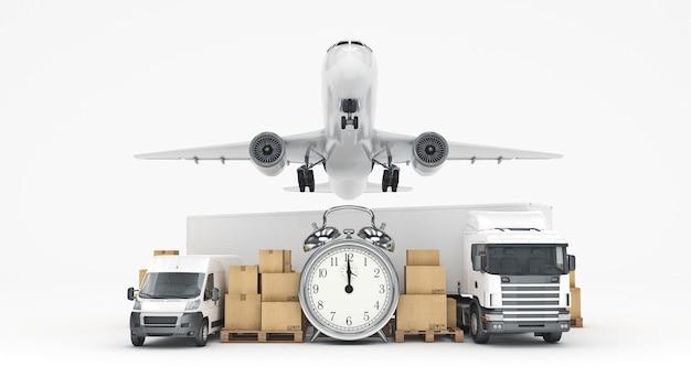 世界規模の貨物輸送コンセプト3dレンダリング