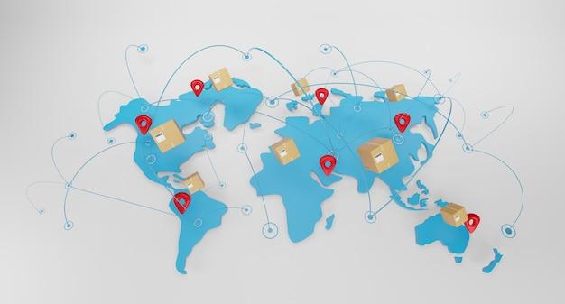 世界の地球地図上のパッケージボックスを使用した世界規模の配送コンセプト。速達コンセプト、速い船積み、3dイラスト