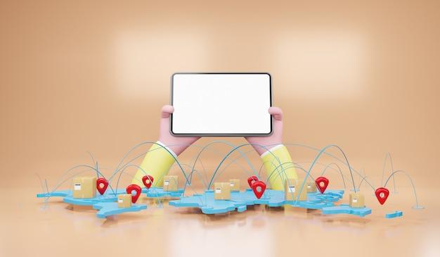 Концепция доставки по всему миру с упаковочными коробками на карте мира. концепция экспресс-доставки, быстрая доставка, 3d-рендеринг