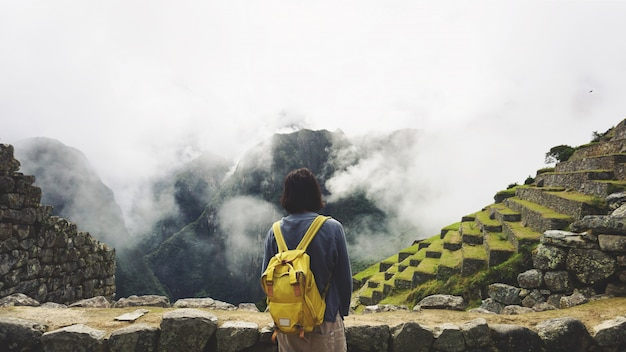World wonder machu picchu and andes mountains