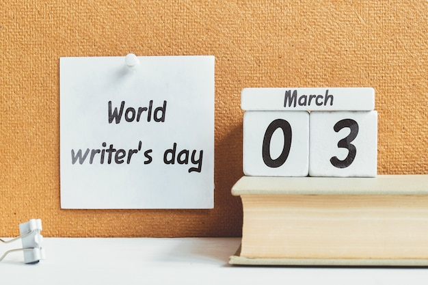 World writer day of spring month calendar march.