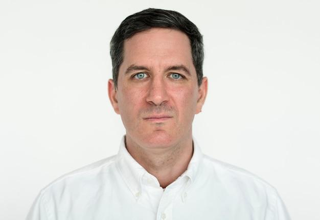 Worldface-uomo americano in uno sfondo bianco