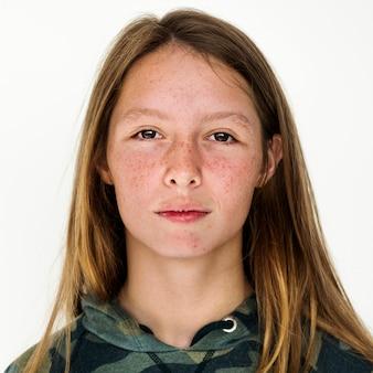 Worldface-ragazza australiana in uno sfondo bianco