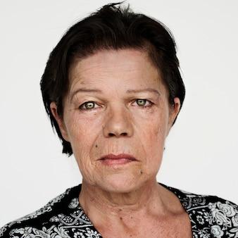 Worldface-donna finlandese in uno sfondo bianco