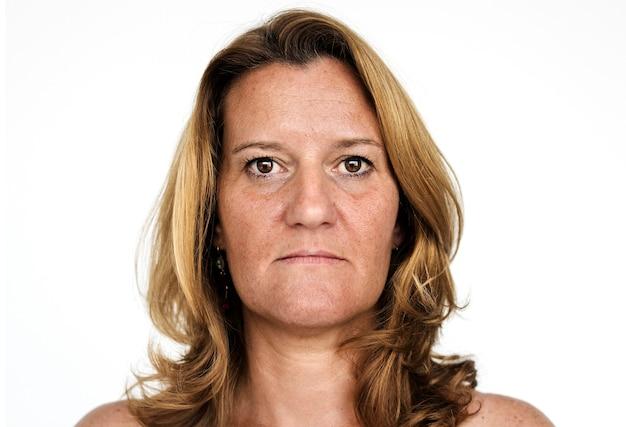 Worldface-donna francese in uno sfondo bianco