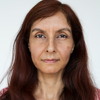 Worldface-donna indiana in uno sfondo bianco