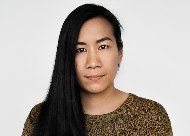 Worldface-donna malese in uno sfondo bianco