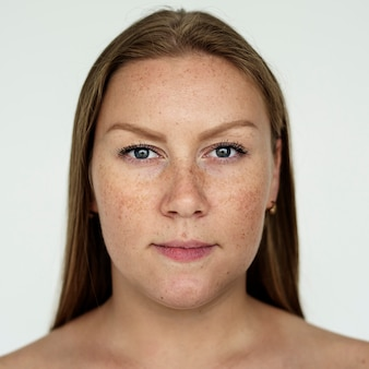 Worldface-russian woman in a white background