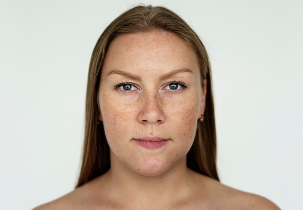 Worldface- russian woman in a white background