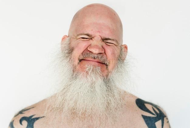 Worldface-sorridente uomo americano in uno sfondo bianco