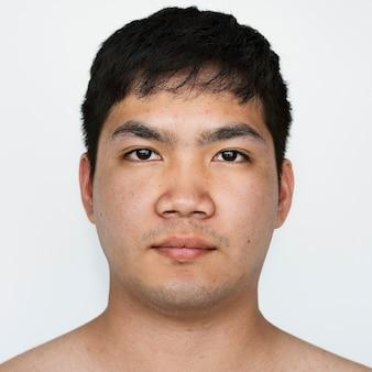 Worldface-ragazzo tailandese in uno sfondo bianco