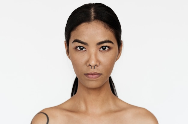 Worldface- thai woman in a white background