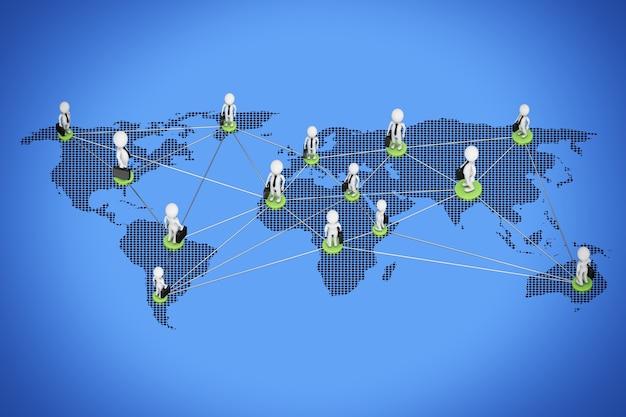 世界的なビジネスコンセプト。青い背景に世界地図を介して接続するビジネスマン。 3dレンダリング