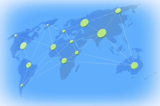 世界的なビジネスコンセプト。青い背景に接続されたノードを持つ世界地図。 3dレンダリング