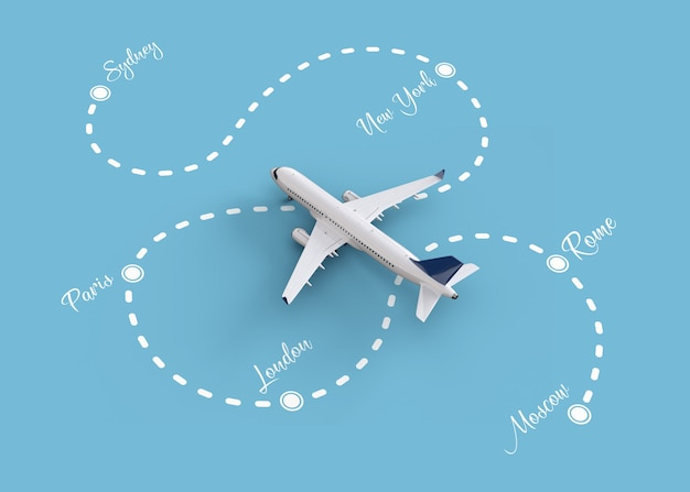 Worldwide flights and delivery concept
