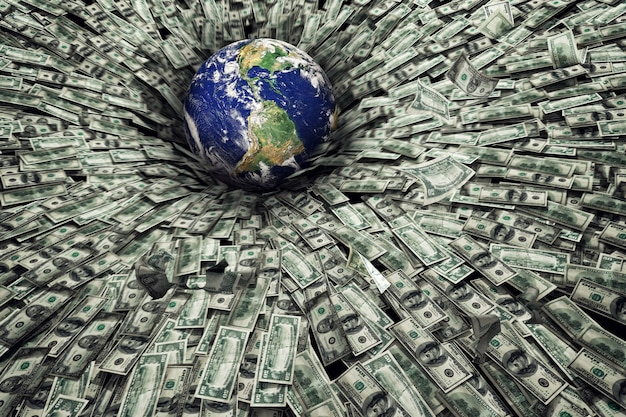 Worldwide problem of economic recession and crisis