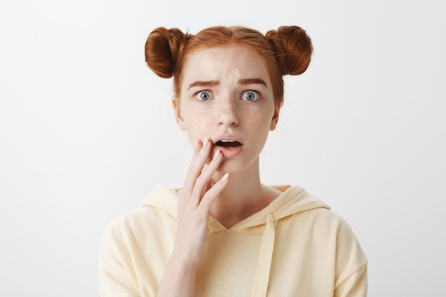 心配して心配して驚いて赤毛の女の子