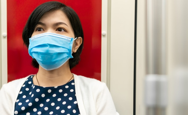 Worried asian woman wear surgical mask in metro