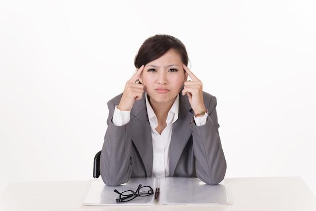 アジア人の心配しているビジネスウーマン、白い背景の上のクローズアップの肖像画。