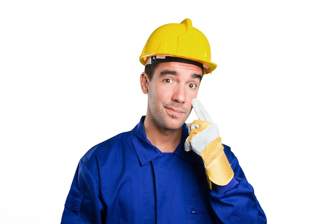 Worried worker with search gesture on white background
