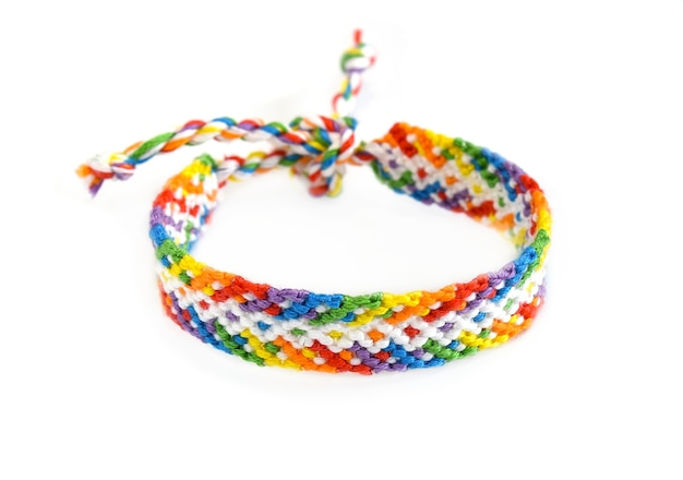 Woven diy friendship bracelet handmade of embroidery bright thread with knots