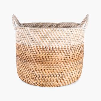 ハンドル付き籐織りバスケット
