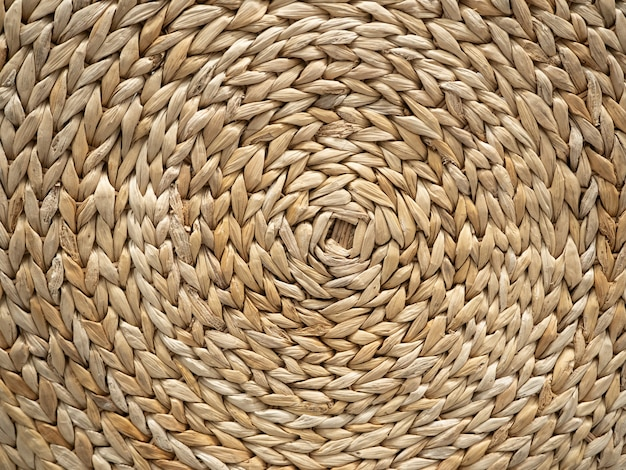 The woven texture of rattan in light brown color. can be used as a background