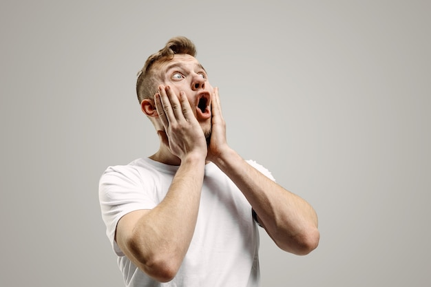 Wow. attractive male half-length front portrait on gray studio backgroud. young emotional surprised bearded man standing with open mouth. human emotions, facial expression concept