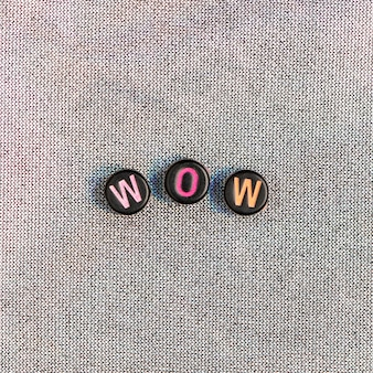 Wow beads text typography on gray