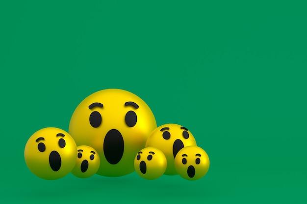 Wow значок facebook реакции смайликов 3d визуализации, символ шара в социальных сетях на зеленом фоне