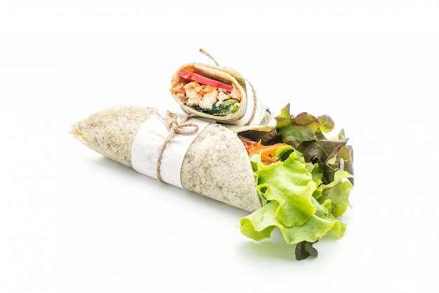 Wrap salad roll with chicken and spinach