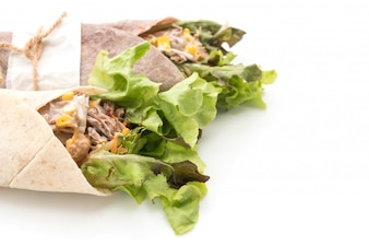 Wrap salad roll with tuna corn salad