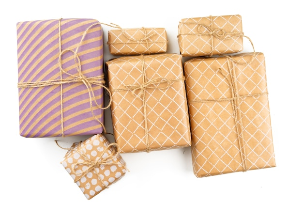 Wrapped christmas presents isolated on white background