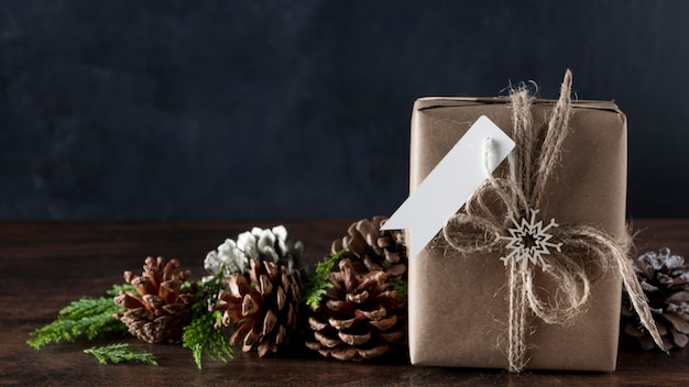 Wrapped gift with blank tag and decorations