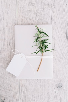 Wrapped present with blank tag and twig on gray wooden background