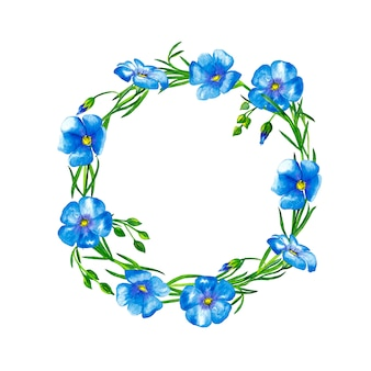 Wreath of blue flax flowers with stems and buds. watercolor painting.