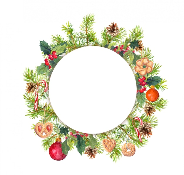 Wreath - christmas tree branches, mistletoe, cookies, candy cane
