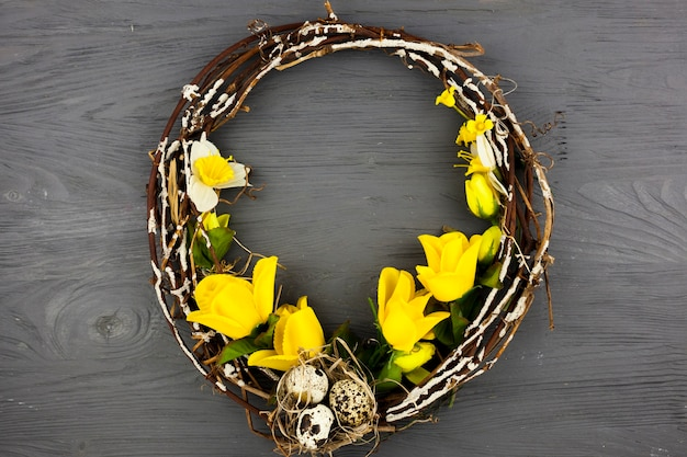 Wreath decorated with eggs and flowers