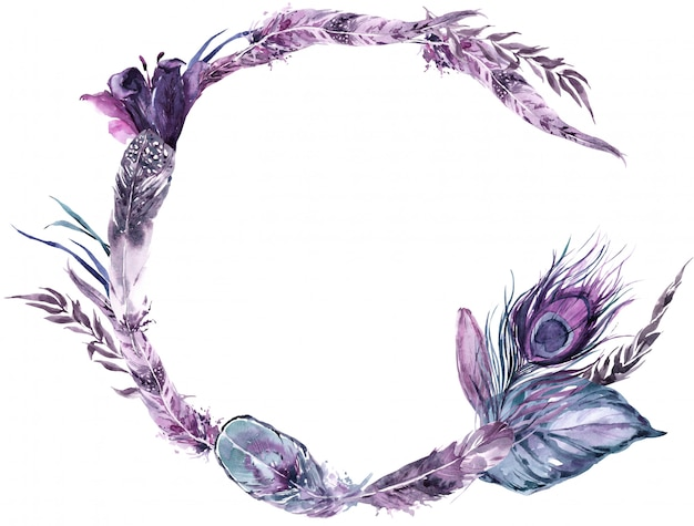 Wreath exotic bird feathers and tropical leaves