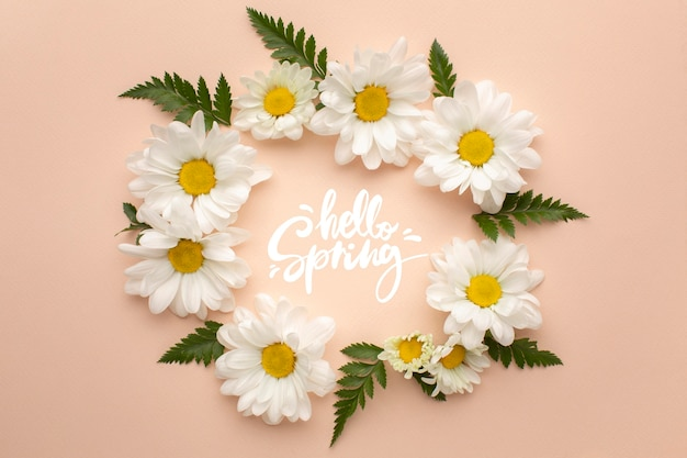 Wreath of flowers with hello spring