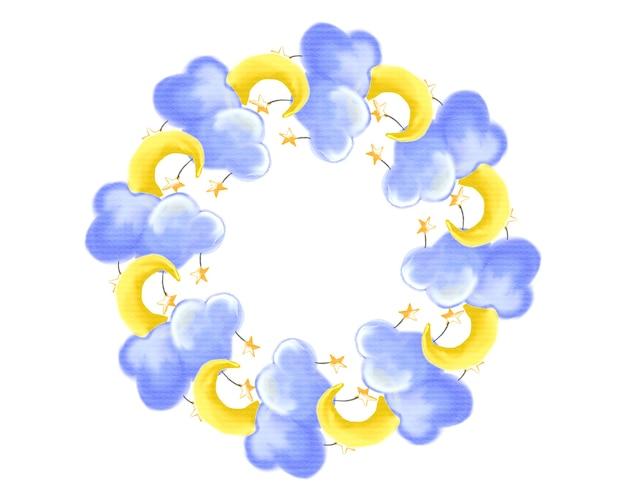 花輪、ベビーシャワーのフレームの境界線、水彩要素の月、雲と星