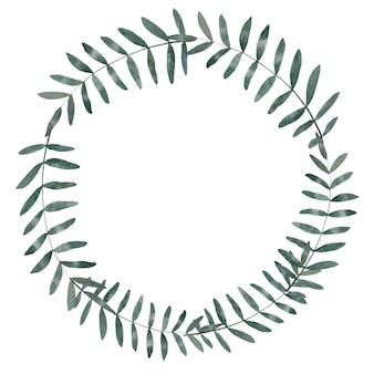 白の分離された花輪フレーム