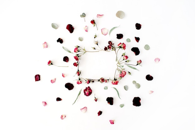 Wreath frame with roses, eucalyptus, branches, leaves and petals isolated on white