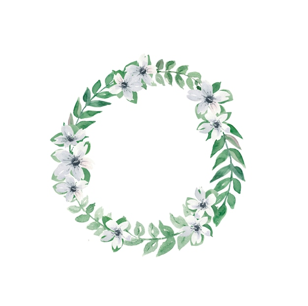Wreath from animonas and leaves for wedding invitations