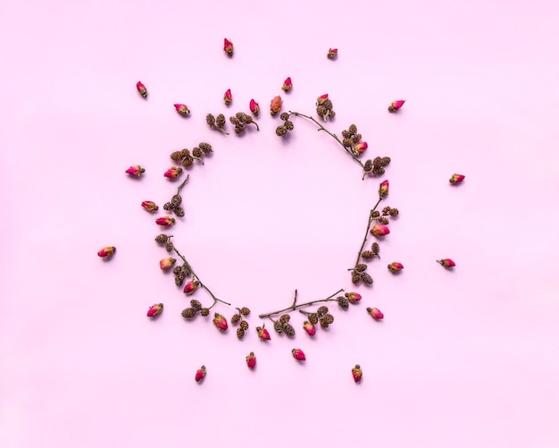 Wreath made of fresh red roses and twigs with alder cones on pink background.